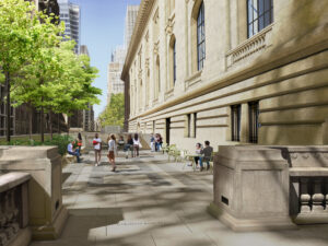 Rendering of the Stephen A. Schwarzman Building near the 40th Street entrance, showing a courtyard filled with people